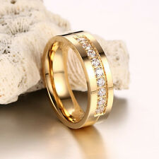 1x Wedding Bands Rings for Love 18k Gold Plated CZ Zirconia Stainless Steel Ring Men 8