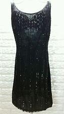 NWT LAWRENCE KAZAR 100% SILK BLACK BEAD & SEQUIN COCKTAIL  DRESS W/LINING