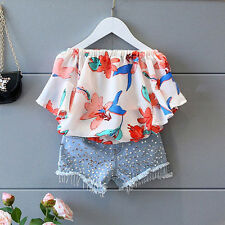 Toddler Kids Girl Floral Off Shoulder T-Shirt Top+Shorts Pants Clothes Outfits