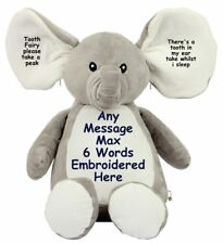 "Personalised 16"" Elephant Tooth Fairy Teddy Bear Birthday New Baby Wedding Gift"