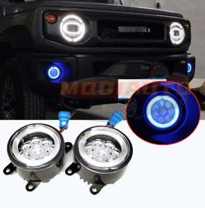 Fit For Suzuki Jimny 2019-2021 LED Front fog lights Lens Blue Angel Eye Bulb 2pc