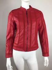 NWT CARMIN Los Angeles Women Sz L Red Faux Leather Zip Up Jacket Longsleeve