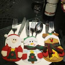 3pcs Christmas Santa Claus Fork Bag Cover Tableware Cutlery Holder Table Decor