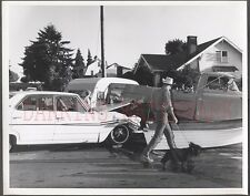Old Photo Unusual 1964 Ford Car vs 1959 Chevy Pickup Wreck Scottie Dog 659847