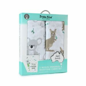 Bubba Blue Aussie Animal 2Pk Muslin Wraps White Included 18 Milistones Cards