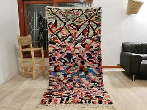 Boucherouite Moroccan Berber Handmade Colourful Tribal Area Rugs 3ft 6 x 7ft 1