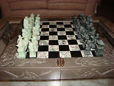 Vintage Oriental Asian Chinese Chess Set w/ Carved Soapstone Pieces Wood Case