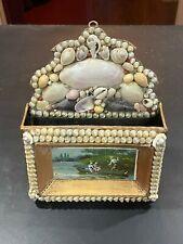 1800s Sailors Valentine Victorian Shell Art Letter Holder Seashell litho Rare