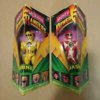 Lot of 2 Mighty Morphin Power Rangers Bandai 8-Inch Red & Yellow Ranger 1993