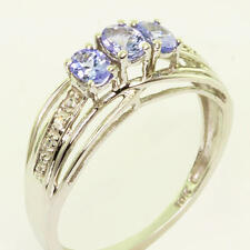 Tanzanite Diamond Right Hand Ring Beautiful Ladies 10K White Gold Synthetic