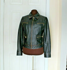 STEFANEL BEAUTIFUL BLACK ITALIAN LEATHER JACKET WITH BROWN TRIM MOTO STYLE SZ M