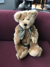 "Jerry Elsner Teddy Bear Plush Stuffed Animal Toy Brown 13"" Vintage 1999 Ribbon"