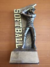 "Softball Trophy Award, 6.5"" Tall Resin Bronze Color Female"