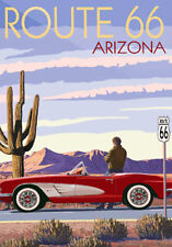 Vintage Travel Poster * ARIZONA ROUTE 66   LARGE A3 Size CANVAS ART PRINT