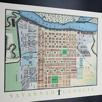 1856 Vintage Reissue Savannah GA MAP Cardstock Colorized Gold Foil Seal Print