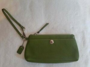 Coach Green Pebbled Leather clutch Purse