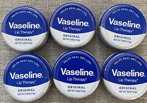 (6) Vaseline Lip Therapy Original 0.6 oz each