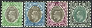SOUTHERN NIGERIA 1904 KEVII 1/2D 21/2D 6D AND 1/- WMK MULTI CROWN CA