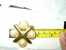 Vintage Monet signed BROOCH PIN Faux Pearl Gold Tone Costume Jewelry