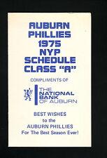 Auburn Phillies--1975 Pocket Schedule--National Bank of Auburn--New York-Penn