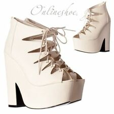 Synthetic Leather Wedge Formal Lace-up Heels for Women