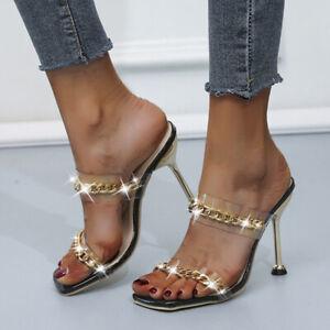 Women Sandals Slingback Peep Toe High Heels Slip On Clear Mules Slipper Party