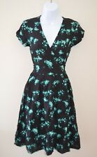 Modcloth Black A-line dress Birds NWT  4  Pretty Vacant Turquoise flowers birds