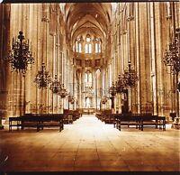 Cattedrale Da Bourges Nef Francia Placca Da Lente Stereo Positive Vintage