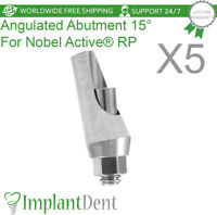 5 Titanium Angular Abutment 15° Fit Nobel Biocare, Active Hex RP, Dental