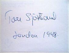 Sjostrand Tore 1948 Olympic 3000m Steeplechase Bronze Medal Winner Autograph