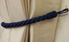 2 x superbe bleu marine épais Grand Corde Satin embrasses rideaux 81.3cm