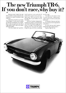 TRIUMPH TR6 RETRO A3 POSTER PRINT FROM CLASSIC 60'S ADVERT 1969