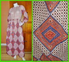 Vtg 70s Nancy Greer Bandana Print Prairie Hippie BOHO Peasant Gypsy Maxi DRESS