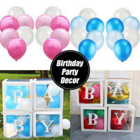 12PCS Party Balloons DIY Transparent Box Baby Shower Birthday Pink Blue  Decor
