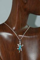 Cremation Sterling Silver Lizard Turquoise Stone Necklace Urn WITH CHAIN 509