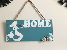 Hand Painted Mermaid Wooden Home Sign