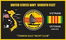 "U.S.NAVY ""GULF OF TONKIN"" 3'X5' FEET 2PL POLYESTER 1-SIDED INDOOR 4 GROMMET FLAG"