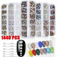 1440pcs Flat Back Nail Art Rhinestones Glitter Diamond Gems 3D Tips Decoration