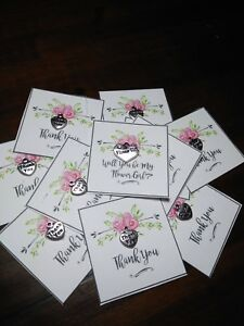 6 WEDDING BRIDESMAIDS Thank You  SMALL GiftCard  with a Small  Charm