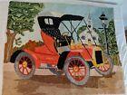 Vintage Hooked Rug Signed Antique Car Church Village Pictorial Scene Rare