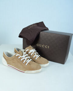 GUCCI Men's Light Camel Suede Trainer Fashion Sneakers 281009 /Size 7G /