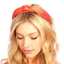 Orange Dupioni Silk Knot Turban Headband Hat Headpiece Hair Accessories