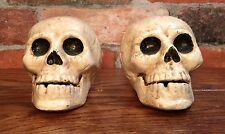 Pair of Cast Iron Vintage Full Skeleton Skull Head Bookends