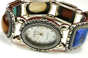Ecclissi Sterling Silver 925 Multi Color Stone Stretch Bracelet Watch
