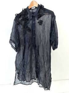 DRIES VAN NOTEN Sheer Button Front Tunic Top Duster Short Sleeve Floral Black M
