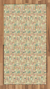 Vintage Fabric Area Rug Flat Woven Accent Rug Home Decoration 2 Sizes