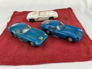 VINTAGE 1960's STROMBECKER 1/32 SLOT CARS (3) - ALL PARTS IN WORKING CONDITION