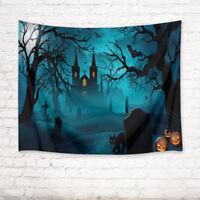 Halloween Castle Cemetery Black Cat Tapestry Wall Hanging Living Room Bedroom