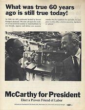 "1968 McCARTHY ""ELECT A PROVEN FRIEND OF LABOR"" PICTURE CAMPAIGN FLYER"