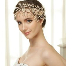 Wedding Bridal Crystal Pearl Gold Hair Accessories Headband Tiara Headpiece Band